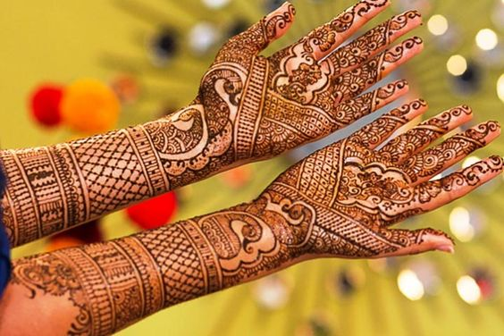 Both hands creative gujarati mehndi design