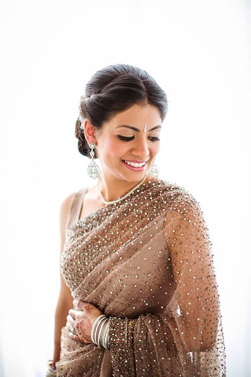 latest trending hairstyle for wedding reception on designer saree