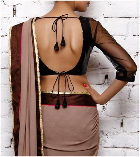 Back less netted sleeve blouse design for silk sarees