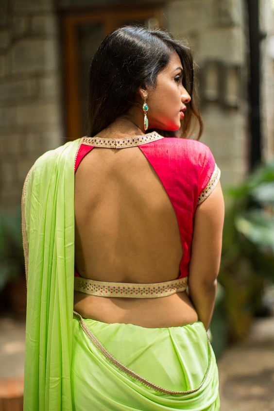 Bare back with thin stylish collar