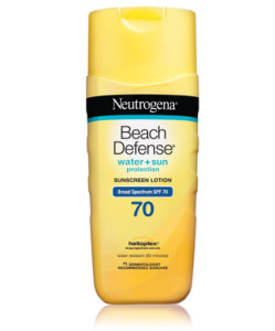 Neutrogena beach defense sunscreen lotion with broad spectrum SPF 70 PROTECTION