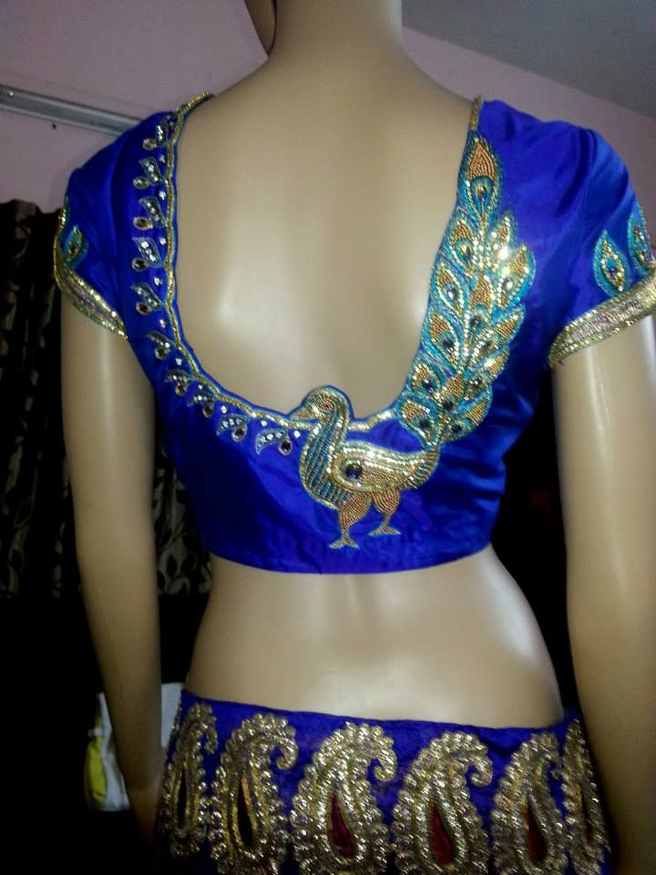 Blue color back peacock design maggam work