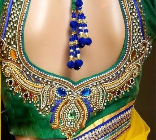 Beads with maggam work on blouse design