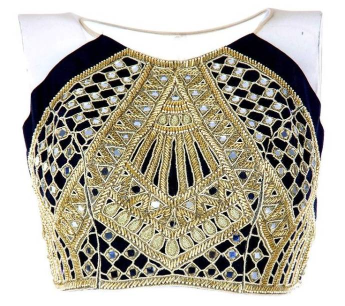 black-blouse-with-golden-work