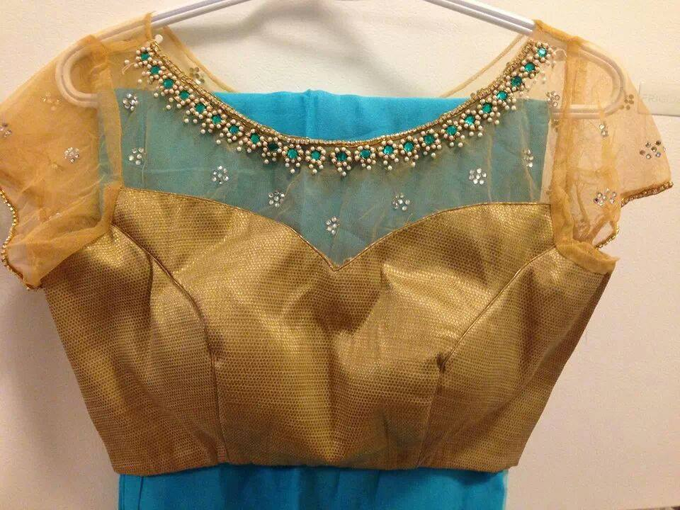 Blouse design with net back and net sleeve 10