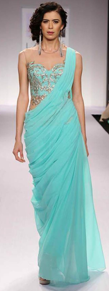 Cocktail twist sari draping style