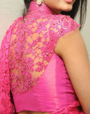 floral design full neck blouse with mega sleeves for pink saree