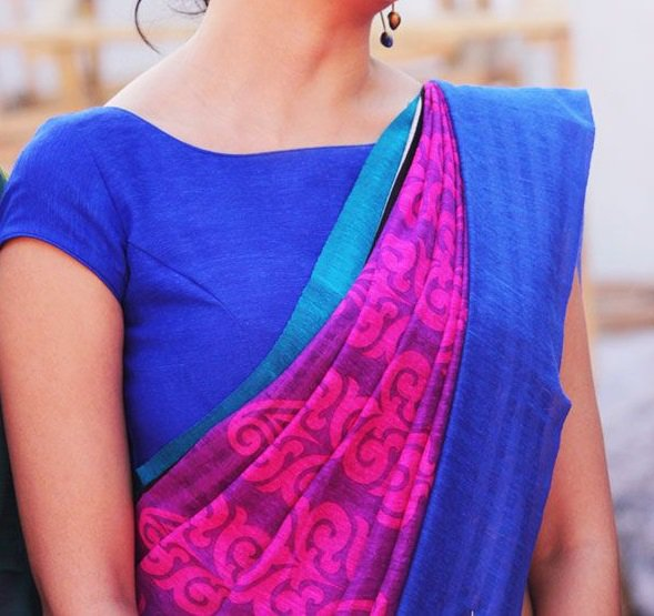 Designer boat neck blouse designs for sarees