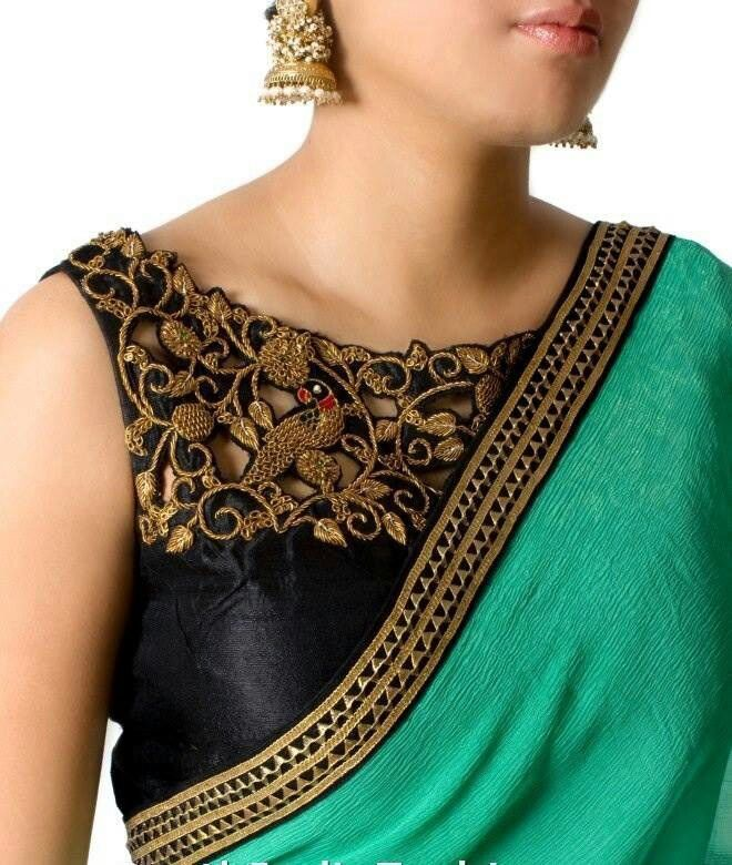 Patch Work Designs For Silk Saree Blouses