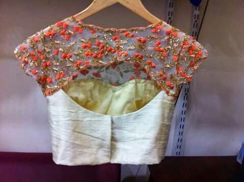 Net blouse with orange flowers