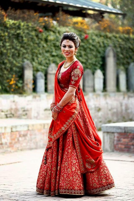 Red heavy work blouse for ghagra