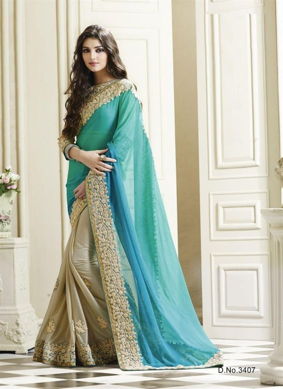 Saree draping style with bi color sarees