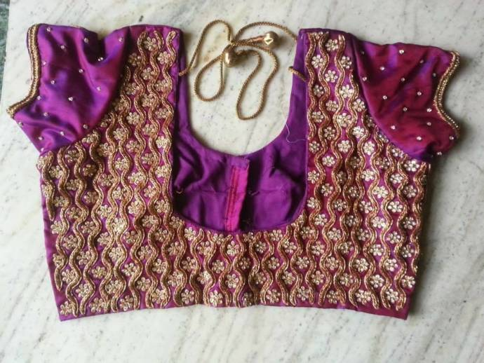 Simple Zardousi blouse design