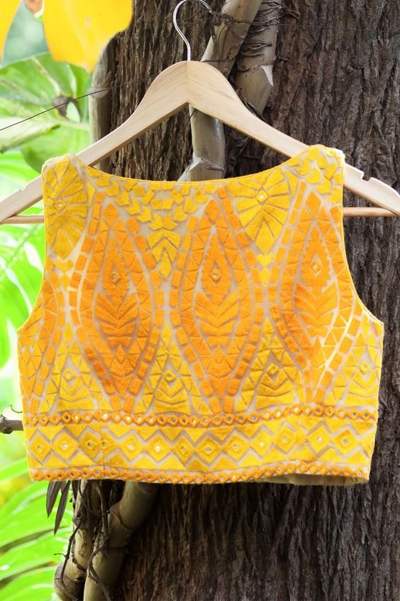 Yellow velvety block boat neck saree blouse