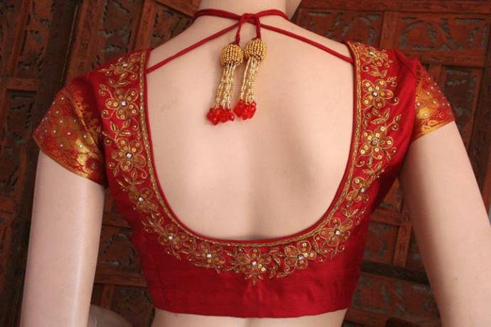 Latest new trend with back neck blouse designs with beads for Dijain photo
