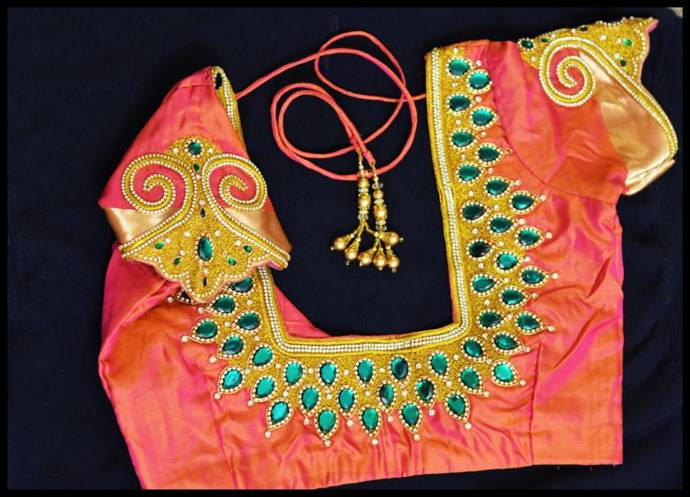 Latest New Trend With Back Neck Blouse Designs With Beads