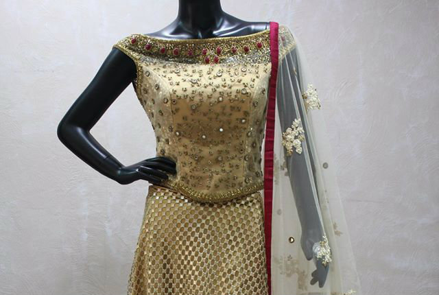 kundan boat neck blouse design