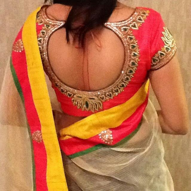 Trendy blouse design for transitional saree