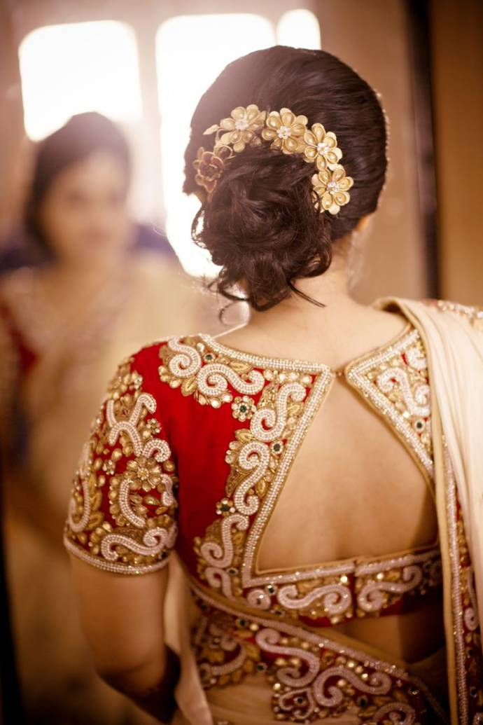 Red embroidered backless blouse