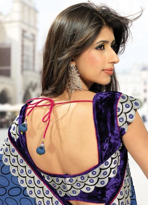 Backless velvet blouse design with beads