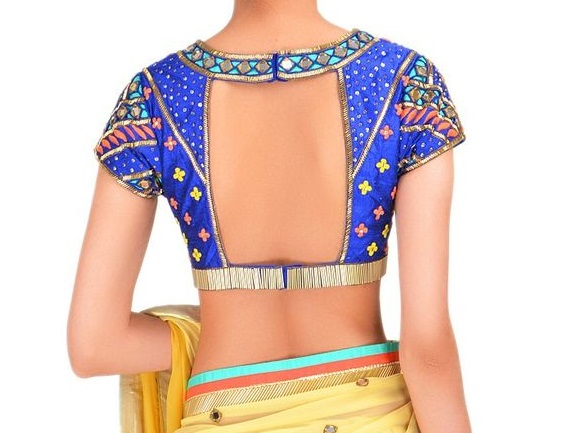 Open back blouse design for wedding reception