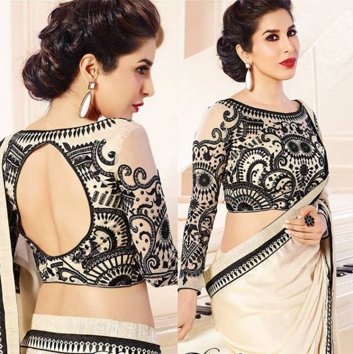 Elegant blouse design for party wear saree