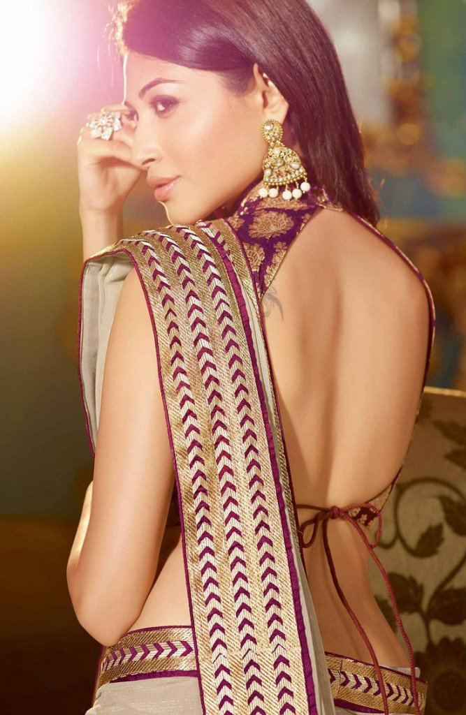 High neck backless blouse design