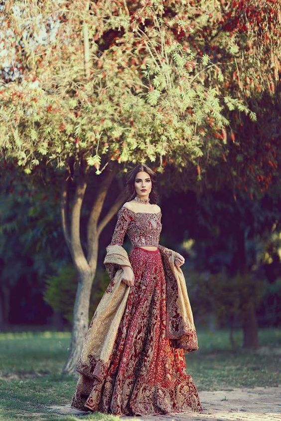 Red shoulder down lehenga blouse