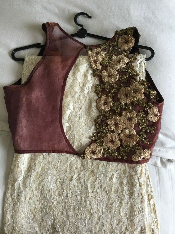 White and coffee color half saree blouse