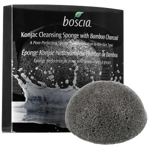 BosciaKonjac cleansing sponge with bamboo charcoal