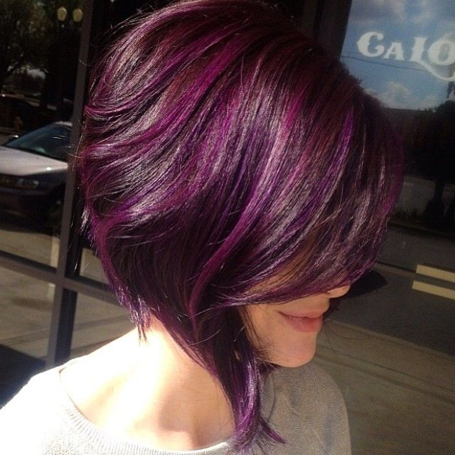 Best Hairstyle Ideas For Short Length Black Hairstyles With Plum Highlights