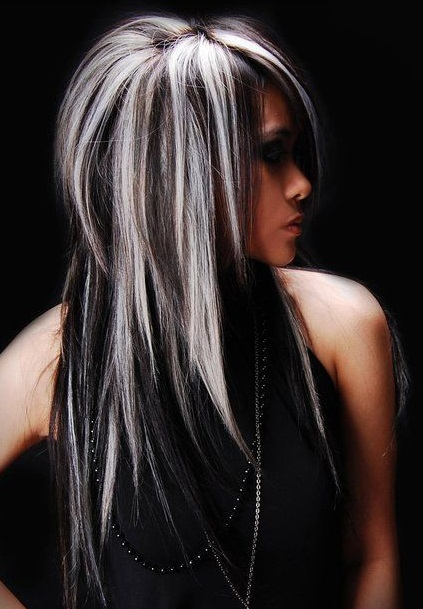 Long dark black hair with blonde highlights blonde dark hair assorted looks with blonde and black pmusecretfo Image collections
