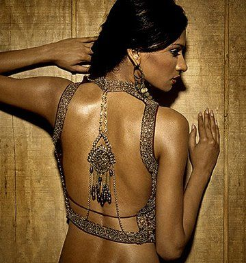 Backless ornamental blouse design