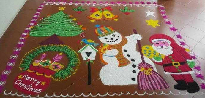 Big Christmas Rangoli with Snowman, Santa and Christmas Tree