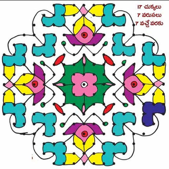 Big Rangoli Design in yellow, orange and shades of blue
