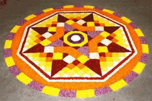 Big and bright dotted rangoli design