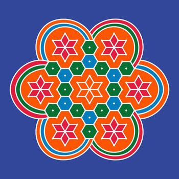 Big and bright rangoli pattern with orange base