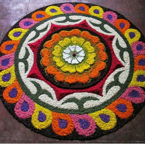 Big rangoli with different shapes and colors