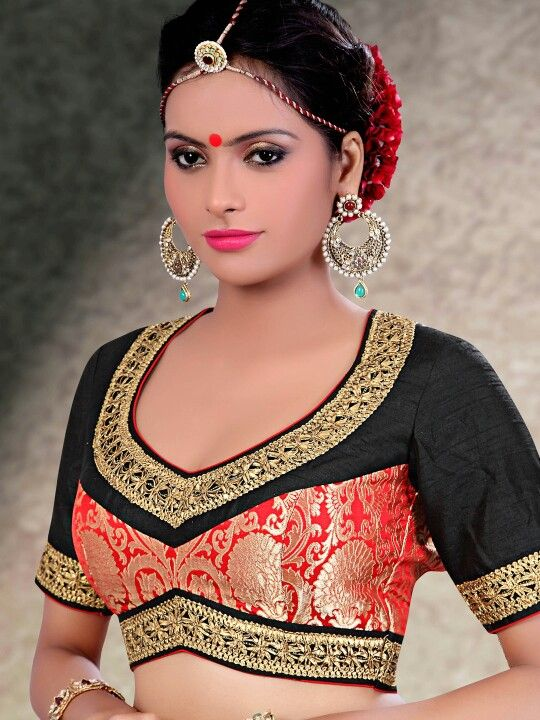 Black blouse with red brocade patchwork