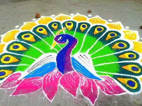 Blend of Color in a Big rangoli