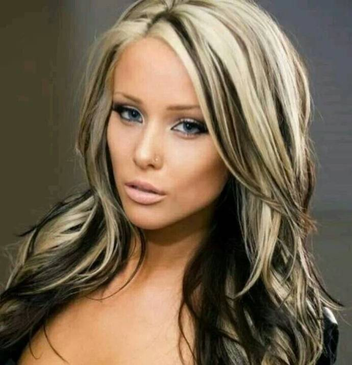 Long Dark Black Hair With Blonde Highlights Blonde Dark Hair