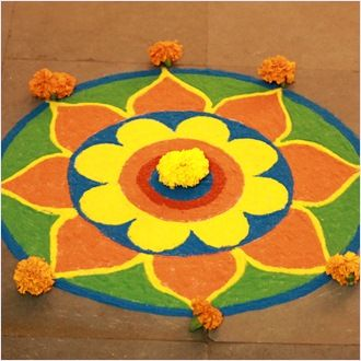 Bright rangoli with flower