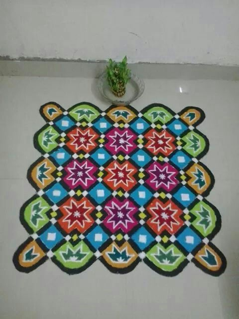 Colorful and Easy Dot Rangoli Design