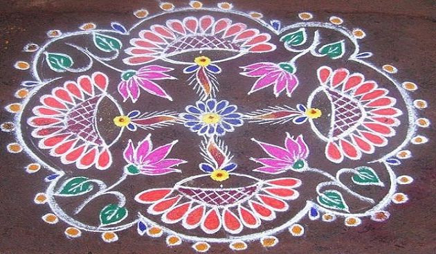 Colorful diya rangoli