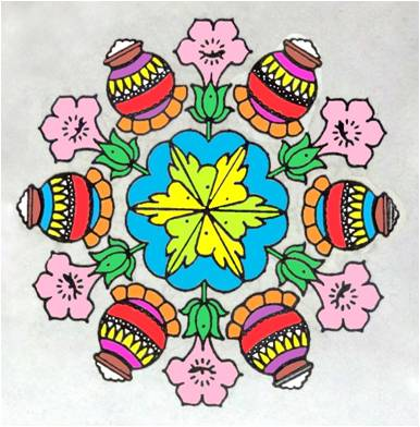 Colorful rangoli, dominated by white