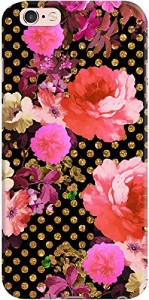 DailyObjects Pink Flowers Black Gold Polka Dots Case For iPhone 6S Plus