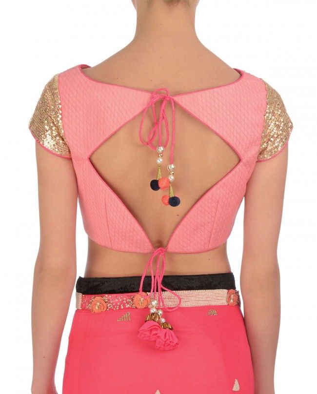 Diamond shaped blouse back-neck design