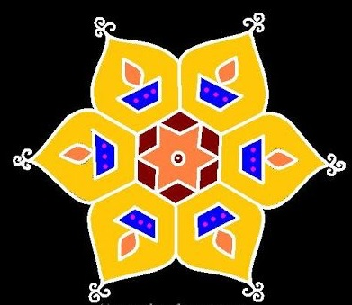 Diwali design with diya, yellow base color