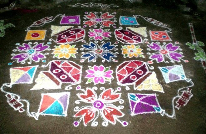 Dotted rangoli with vessels and kites