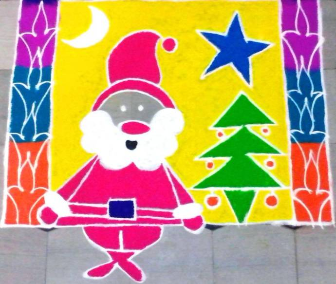 Easy Christmas Rangoli for Beginners